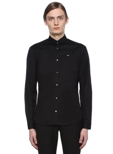 McQ Alexander McQueen Uzun Kollu Klasik Gömlek Siyah